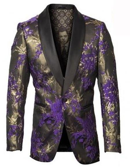 Purple and Gold Tuxedo Jacket with Fancy Pattern Shawl Lapel - Blazer - Prom - Wedding