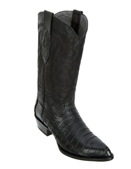 Los Altos Boots Caiman Belly Black Cowboy Boots J-Toe