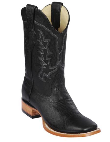 Los Altos Boots Men's Grisly Wide Square Toe Boots Black