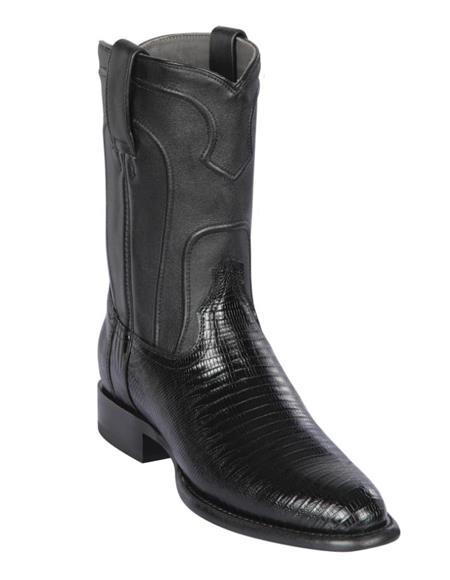 Los Altos Mens Lizard Teju Roper Western Boots Black