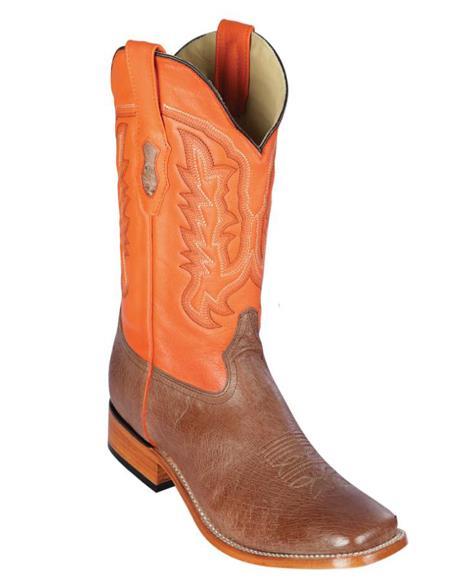 Los Altos Boots Smooth Ostrich Square Toe Cowboy Boots Mocha - Botas De Avestruz