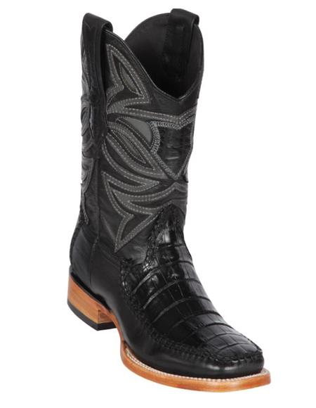 Los Altos Boots Caiman Belly and Deer Wide Square Toe Black