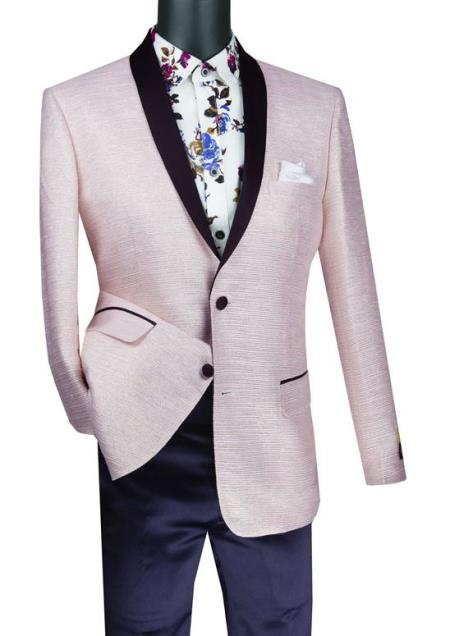 Mens Suit 2 Button and Metallic Stripe Sport Coat Pink Color