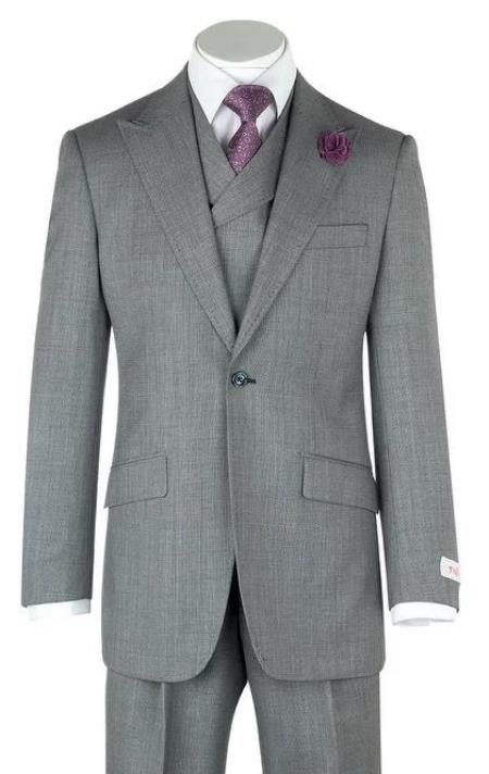 Classic Fit - Pleated Pants - Double Breasted Suits Vest - Peak Lapel 1920s Look Men's Double Breasted 100% Wool Slanted Vest Gray