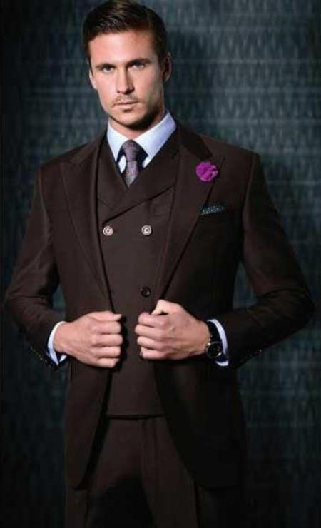 Classic Fit - Pleated Pants - Double Breasted Vest - Peak Lapel 1920s Look Mens Wide Leg 100% Wool Slanted Vest Burgundy