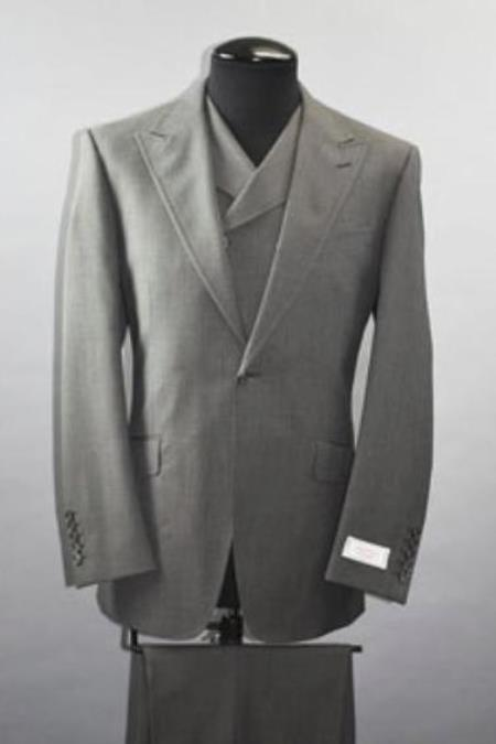 Classic Fit - Pleated Pants - Double Breasted Vest - Peak Lapel 1920s Look - Mens Wide Leg Double Breasted Slanted Vest Grey