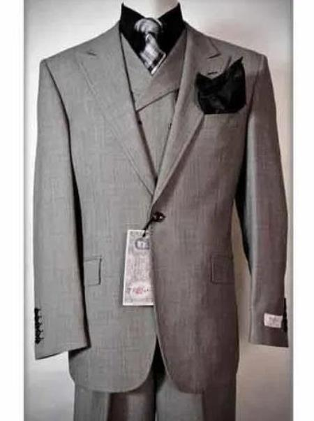 Classic Fit - Pleated Pants - Double Breasted Vest - Peak Lapel 1920s Look - Mens Wool Fabric Slanted Vest Grey Three Piece Suit