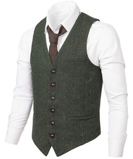 Men's Slim Fit Herringbone Tweed Suit Army Green 1920s Vest