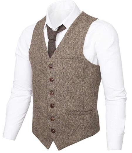 Men's Slim Fit Herringbone Tweed Suit Beige 1920s Vest