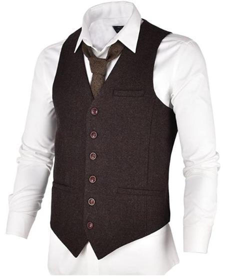 Men's Slim Fit Herringbone Tweed Suit Coffee 1920s Vest