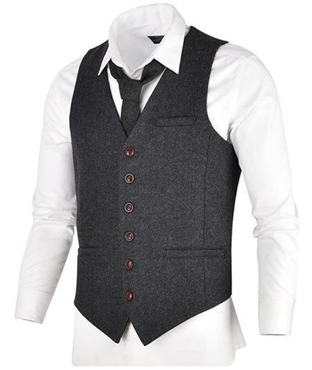 Men's Slim Fit Herringbone Tweed Suit Dark Grey 1920s Vest