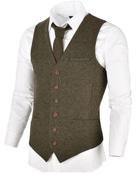 Men's Slim Fit Herringbone Tweed Suit Khaki 1920s Vest
