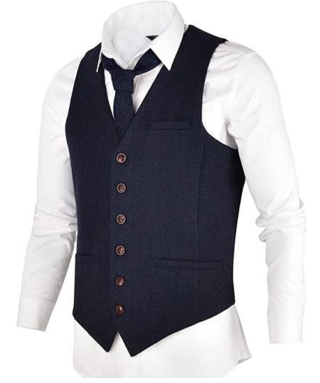 Men's Slim Fit Herringbone Tweed Suit Navy Blue 1920s Vest