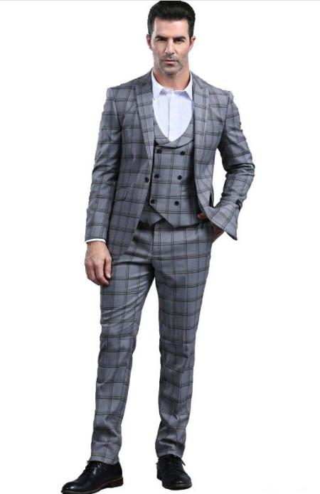 Charcoal Grey Slim Fitted Tapered Plaid - Window Pane Patterned Suit With Double Breasted Vest