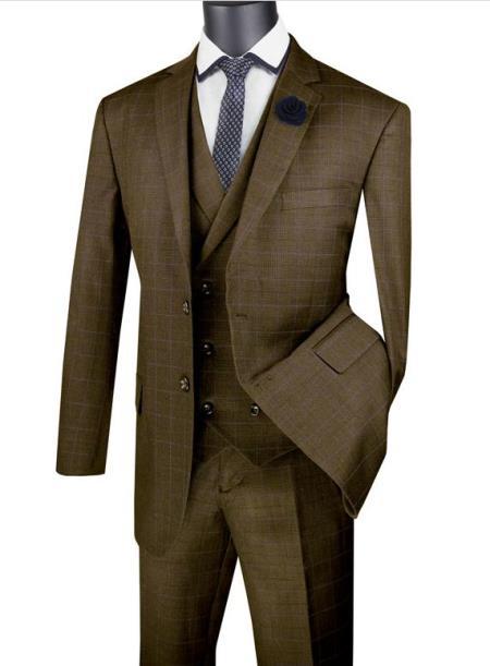 Taupe Men's  2 Button Suit With Notch Collar Vest