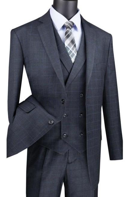 Charcoal Men's  2 Button Suit With Notch Collar Vest