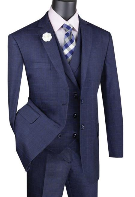 Navy Mens Single Breasted 2 Button Suit With Notch Collar Vest