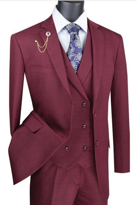 Burgundy Mens 2 Button Suit With Notch Collar Vest