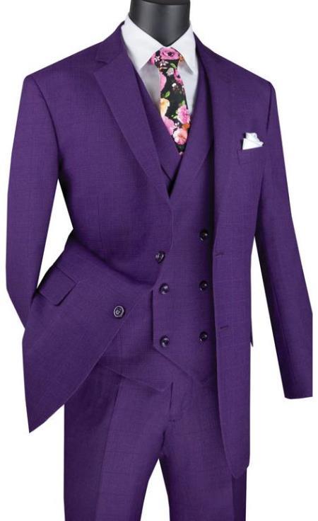 Purple Men's  2 Button Suit With Notch Collar Vest