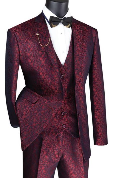 Paisley Floral Suit Ruby- Men's Flower Suit