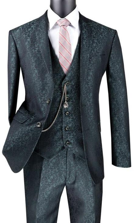Paisley Floral Suit Pine - Men's Flower Suit