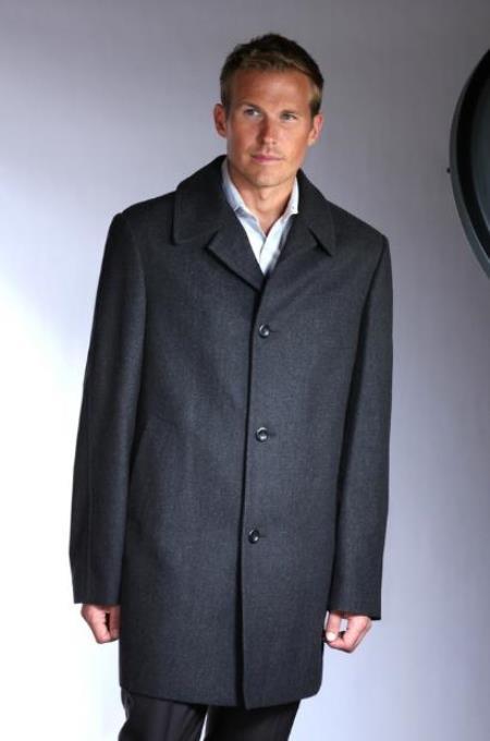 Mens Topcoat Jean-Paul Germain Wool Blend Car Coat Big and Tall Sizes