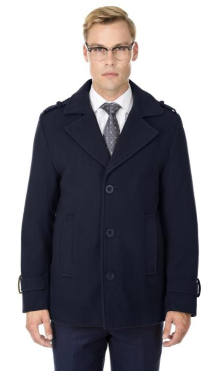Mens Short Length Coat Wool Fabric - Short Designer Mens Wool Peacoat Sale Carcoat Blue