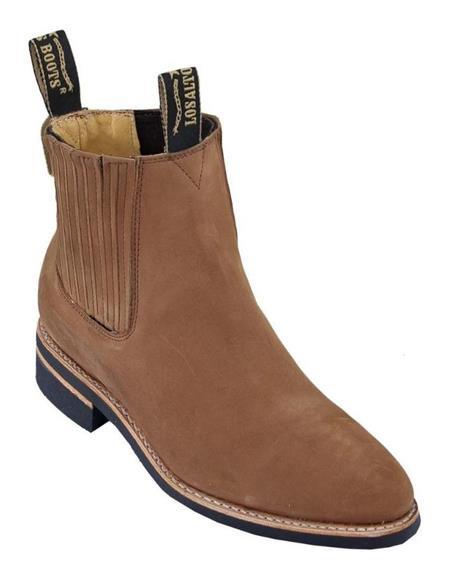 Shedron Los Altos Mens Charro Botin Short Ankle Nubuck Leather Boots