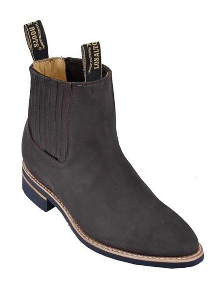 Tobacco Los Altos Mens Charro Botin Short Ankle Nubuck Leather Boots