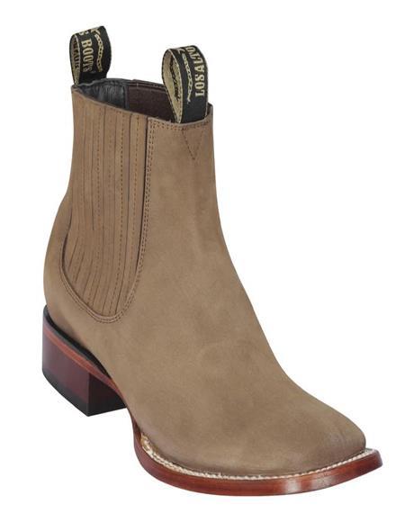 Taupe Men's Los Altos Boots Nobuk Charro Botines Handcrafted