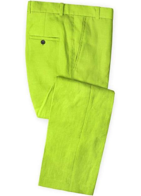 Men's Linen Fabric Pants Flat Front