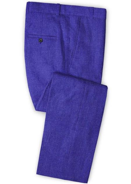 Men's Linen Fabric Pants Flat Front Cobalt Blue