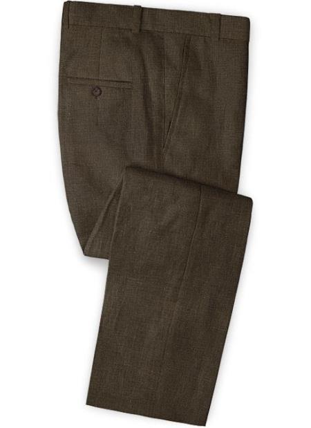Men's Linen Fabric Pants Flat Front Rich Brown