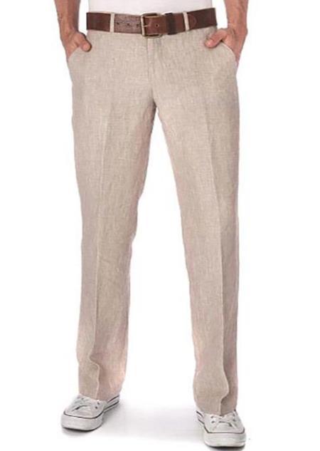 Men's Linen Fabric Pants Flat Front Beige