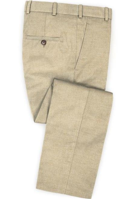 Men's Linen Fabric Pants Flat Front Wheat