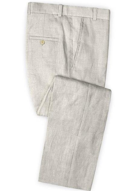 Men's Linen Fabric Pants Flat Front Meadow