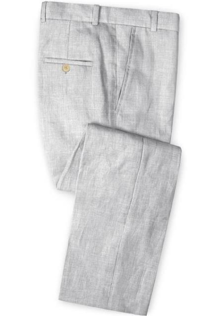 Men's Linen Fabric Pants Flat Front Light Gray