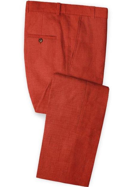 Men's Linen Fabric Pants Flat Front Safari Red