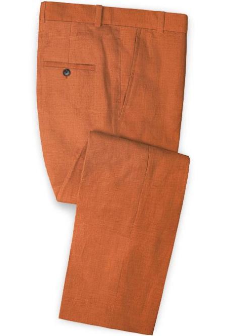 Men's Linen Fabric Pants Flat Front Safari Tango