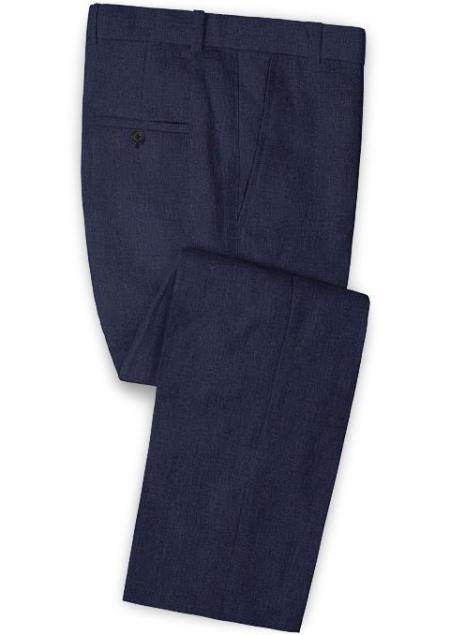 Men's Linen Fabric Pants Flat Front Dark Blue