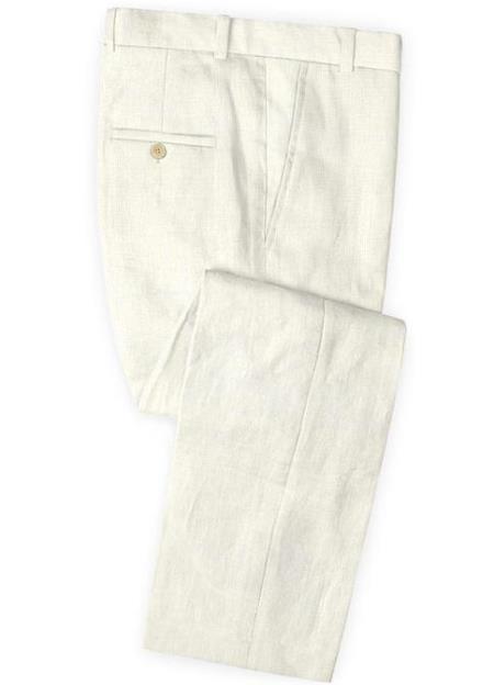 Men's Linen Fabric Pants Flat Front Safari Natural