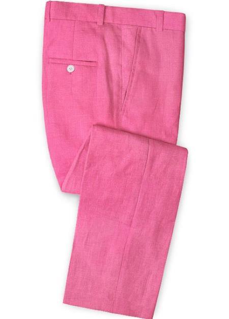 Men's Linen Fabric Pants Flat Front Neon Pink