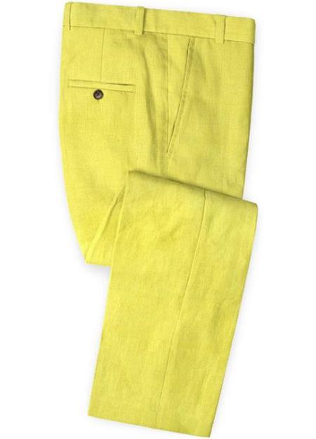 Men's Linen Fabric Pants Flat Front Safari Yellow