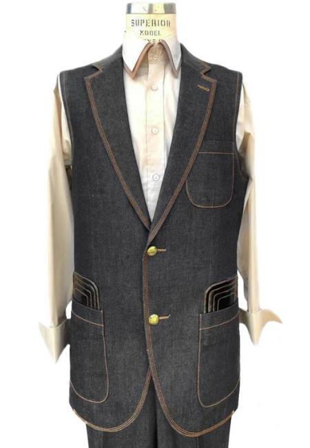 Men's Black Button Fastener Sleeveless Denim Suit