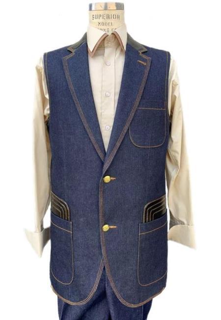 Men's Navy Sleeveless Denim 2 piece Suit