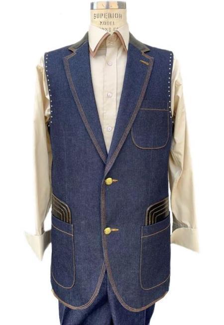 Men's Navy Button Fastener Sleeveless Denim Suit