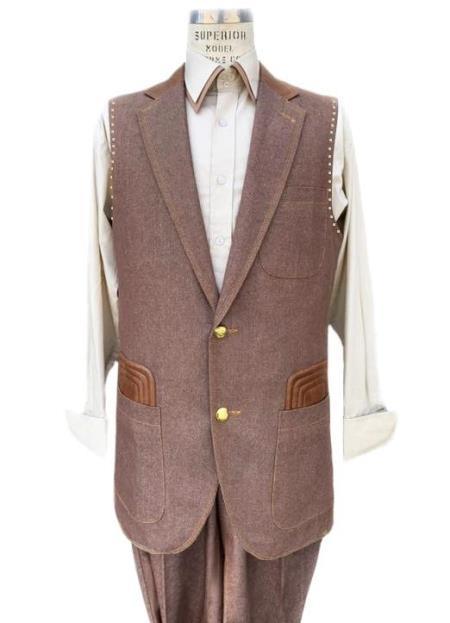 Men's Rust Button Fastener 2 piece Lapel Vest