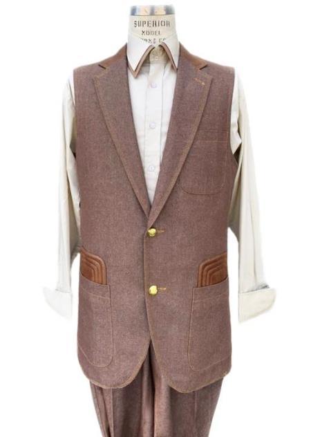 Men's Rust Button Fastener Sleeveless Denim Suit