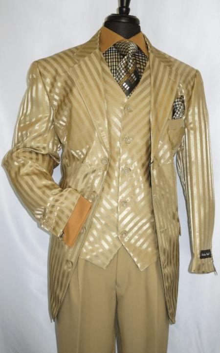 Mens Gold Suit - Perfect for Prom - Church Business Tan - Gold