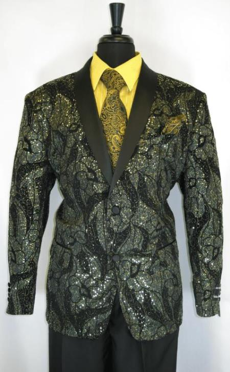 Men's Gold Suit - Perfect for Prom - Church Business Black - Gold